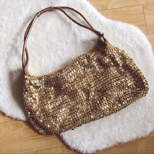 Handbags - Gold Sequin Shoulder Handbag